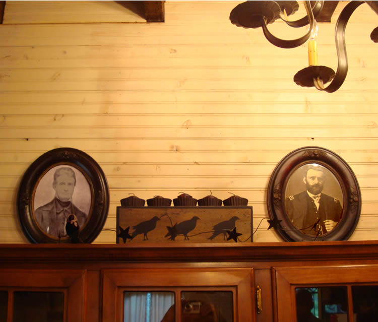 John Brown and Ulysses Grant portraits in Owen Brown's house.